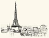 Fototapeta Paryż - Eiffel tower over roofs of Paris
