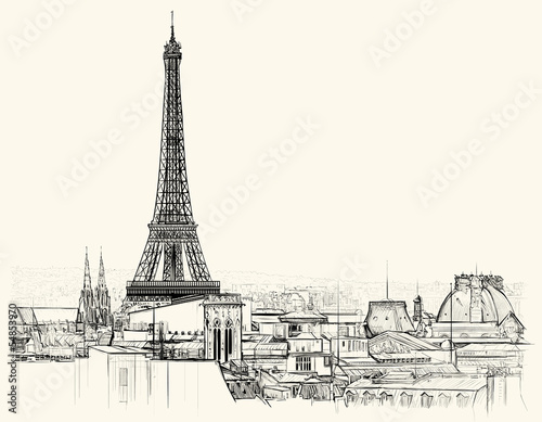 Recess Fitting Illustration Paris Eiffel tower over roofs of Paris
