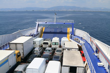 Ferry Boat Loaded With Cars And Trucks