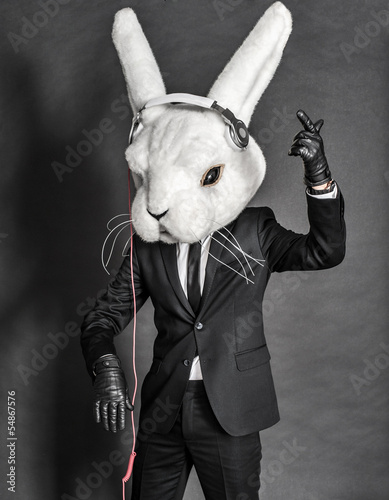 Plakat na zamówienie Rabbit Dj in balck suit on dark background