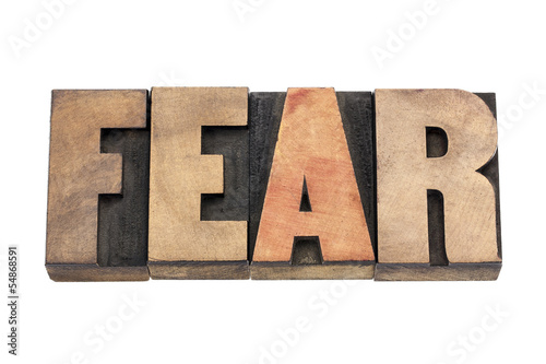 Photo  fear word in wood type