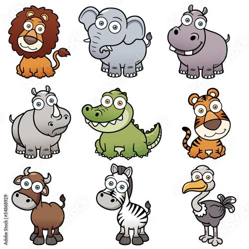 wektorowa-ilustracja-dzikich-zwierzat-kreskowki