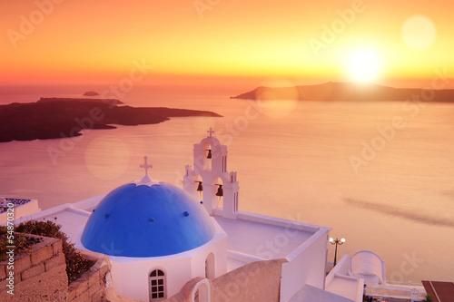Fototapeta Blue dome of the church St. Spirou in Firostefani on Santorini obraz