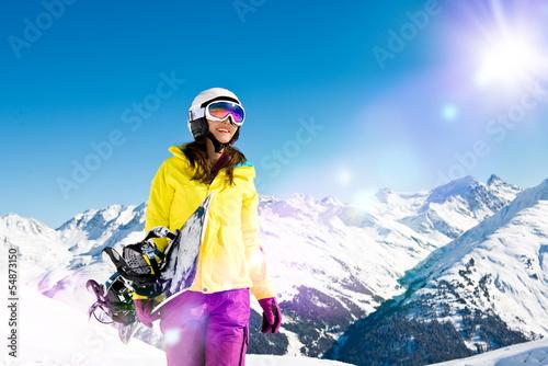 Fotografie, Obraz  Snowboarderin