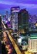 Traffic in modern city at night,Bangkok,Thailand