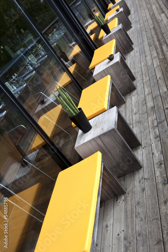 Terrasse, restaurant, patio, salon de jardin, bois, mobilier ...