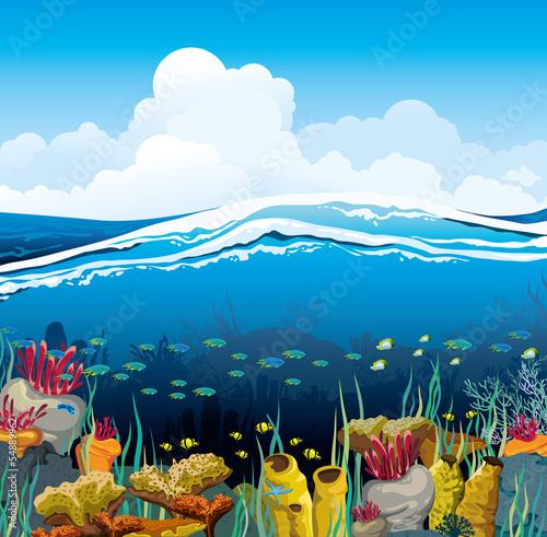Seascape z podwodnymi stworzeniami i niebieskim niebem
