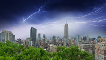 New York City. Thunderstom Above City Skyline