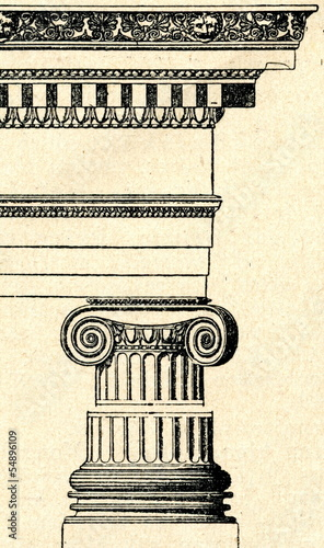 Foto op Aluminium Bedehuis A classical cornice (ionic order)