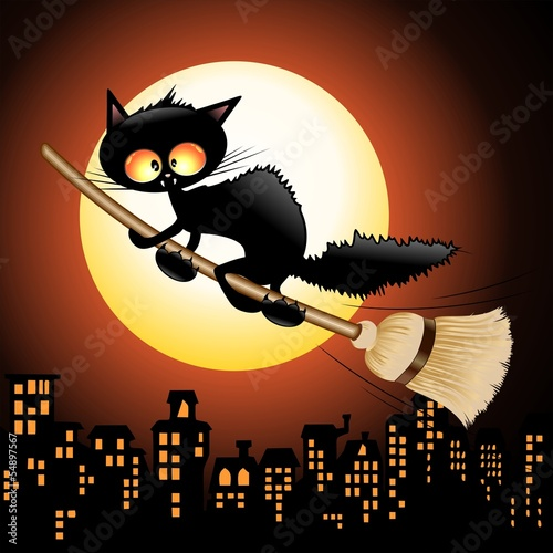 Halloween Cat Cartoon on Witch Broom-Gatto Strega su Scopa