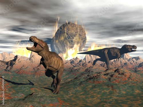Naklejki dinozaury  tyrannosaurus-dinosaur-exctinction-3d-render