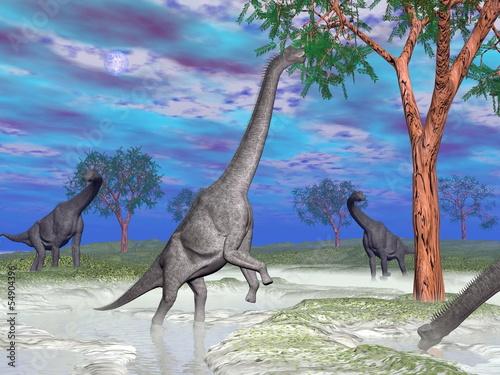 Photo  Brachiosaurus dinosaur eating - 3D render