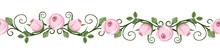 Vintage Horizontal Seamless Vignettes With Pink Rosebuds. Vector