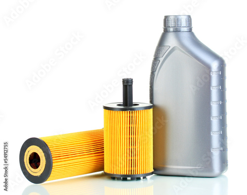 Fotografie, Obraz  Car oil filters and motor oil can isolated on white