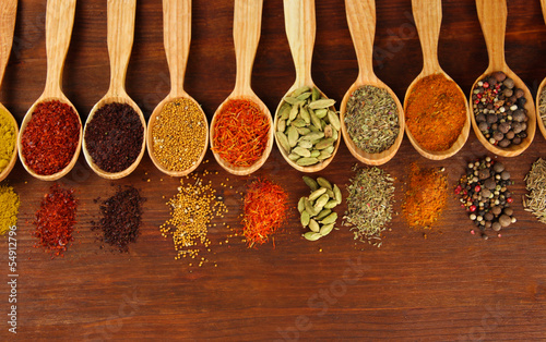 Photo Stands Herbs 2 Assortment of spices in wooden spoons on wooden background