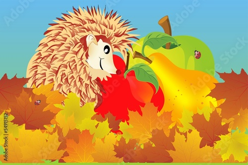 Plakat jesienny jeż
