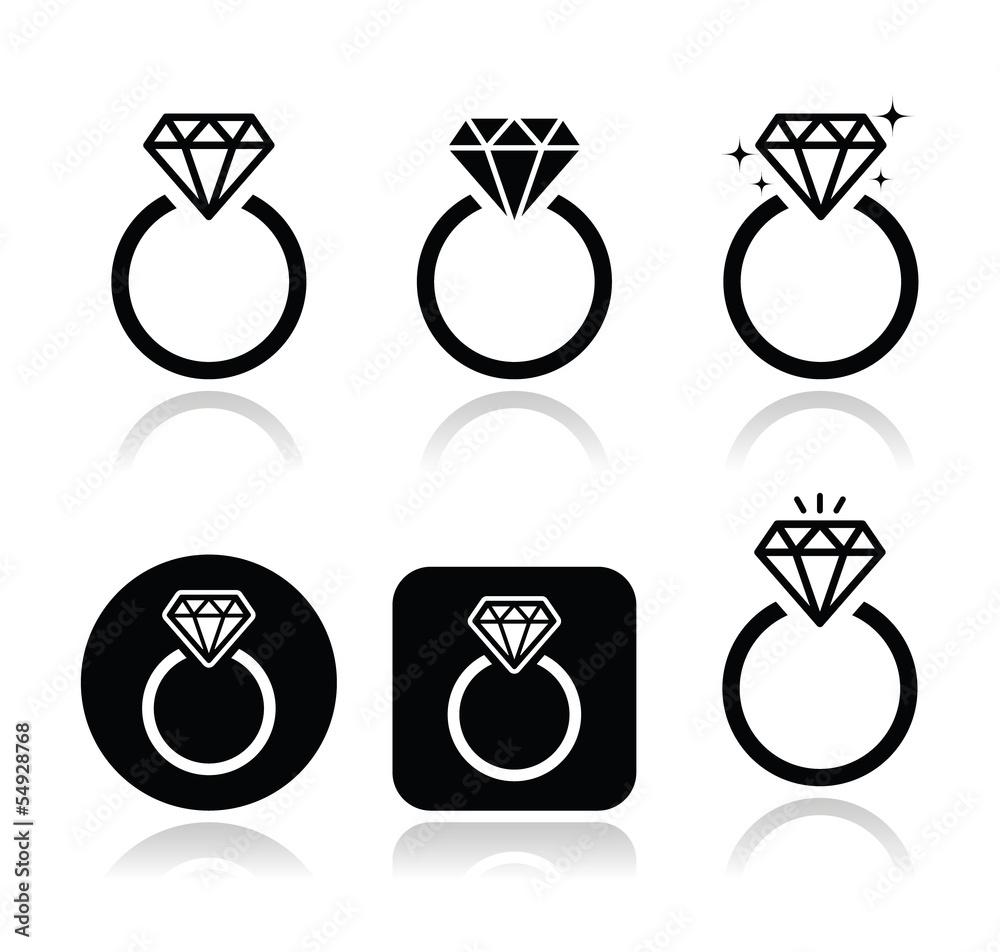 Fototapety, obrazy: Diamond engagement ring vector icon