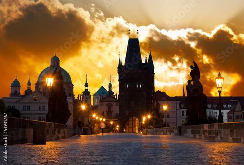 Poster Prague sunrise over Prague - look from Charles (Karluv) bridge