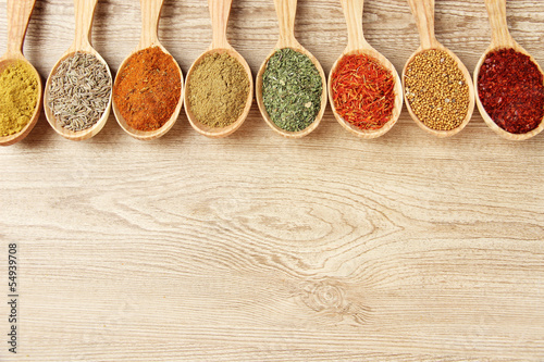 Türaufkleber Gewürze 2 Assortment of spices in wooden spoons on wooden background