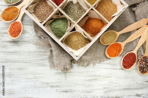 Printed kitchen splashbacks Spices Assortment of spices in wooden spoons and box,