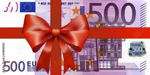 Foto  500 euroschein mit Breiten Geschenkband