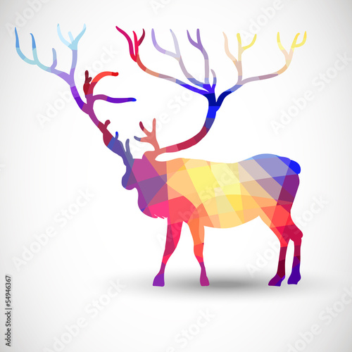 Poster Geometric animals Silhouette of a deer of geometric shapes