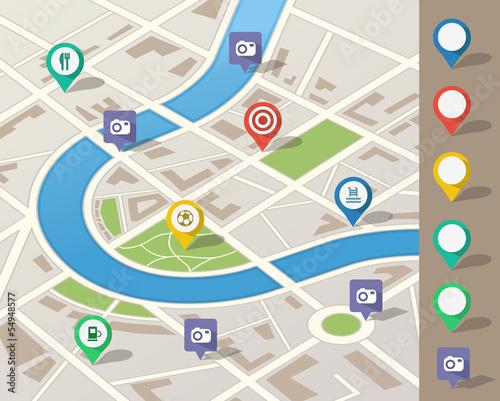 Valokuva  city map illustration with location pins