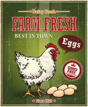Vintage Farm Fresh Chicken Egg Label Poster