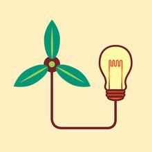 Green Turbine And Bulb, Green Idea Concept