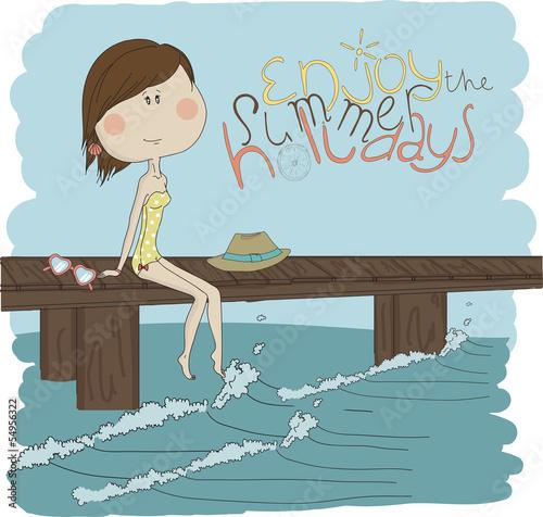 ilustracja-dziewczyny-obsiadanie-na-molu-eps-10