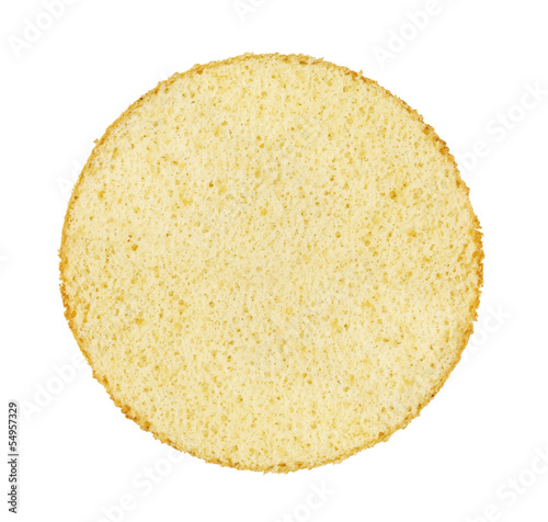 Canvas-taulu Slice of a white sponge cake on white isolated background