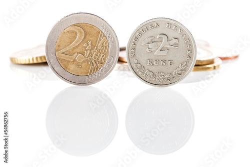2 Euro Coin Next To Kuna Croatian Currency