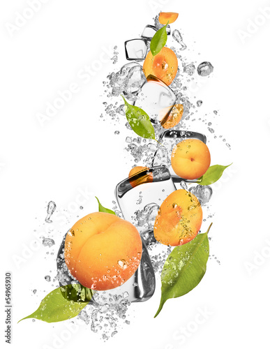 Foto op Canvas In het ijs Ice apricot on white background