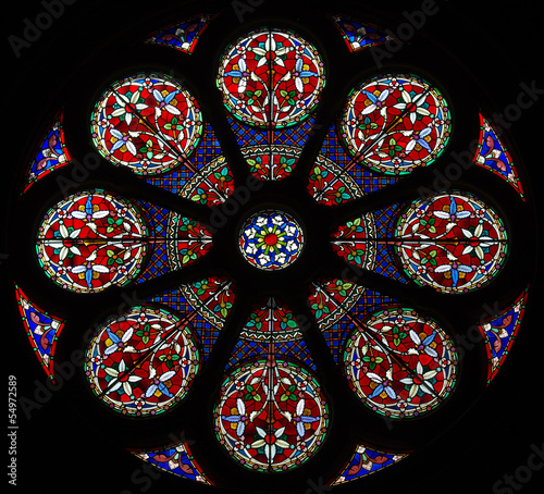 In de dag Stained Rose window. Stained glass.