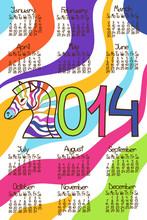 Colorful Calendar 2014 With Zebra