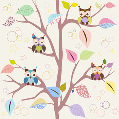 Plakat Seamless pattern with owls