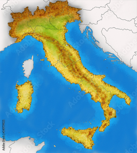 Cartina Fisica Italiana.Cartina Italia Fisica Illustrazione Buy This Stock