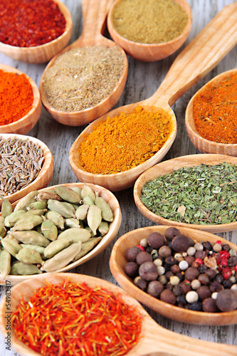 Poster Aromatische Assortment of spices in wooden spoons on wooden background