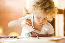 Portrait Of Little Girl Painting, Summer Outdoor