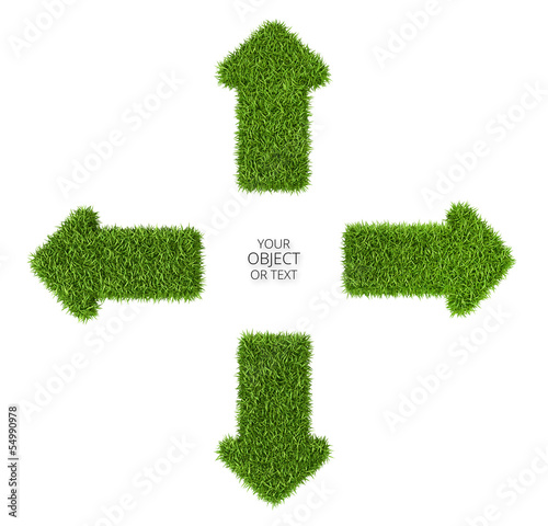 Fotografie, Obraz  Divergent arrows symbol from grass