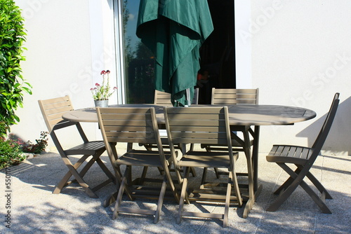 salon de jardin en bois sur terrasse - Buy this stock photo and ...