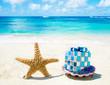 Starfish and seashell with Christmas decoration - holiday concep