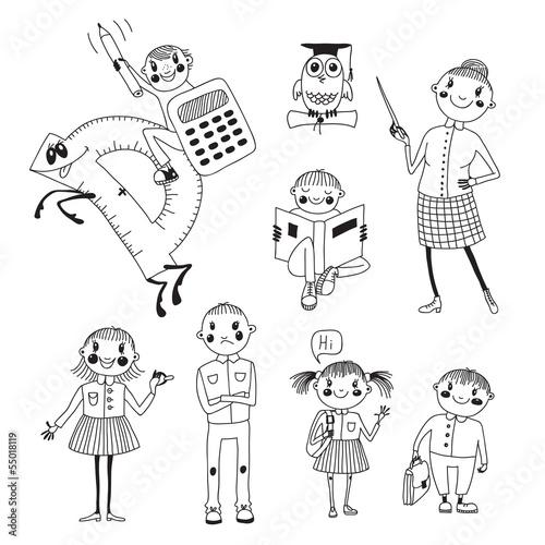 Ręcznie rysowane nauczyciel i dzieci w wieku szkolnym.