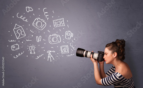 Fototapeta Photographer girl shooting photography icons obraz