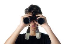 Teen Boy Looking Through Binocular