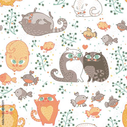 romantyczny-bezszwowy-wzor-z-kotami-i-ptakami-w-wektorze