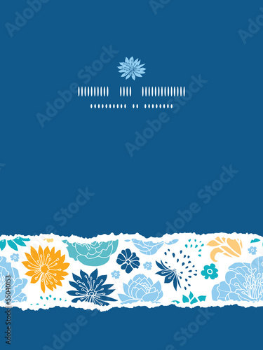 Vector blue and yellow flower silhouettes torn vertical seamless