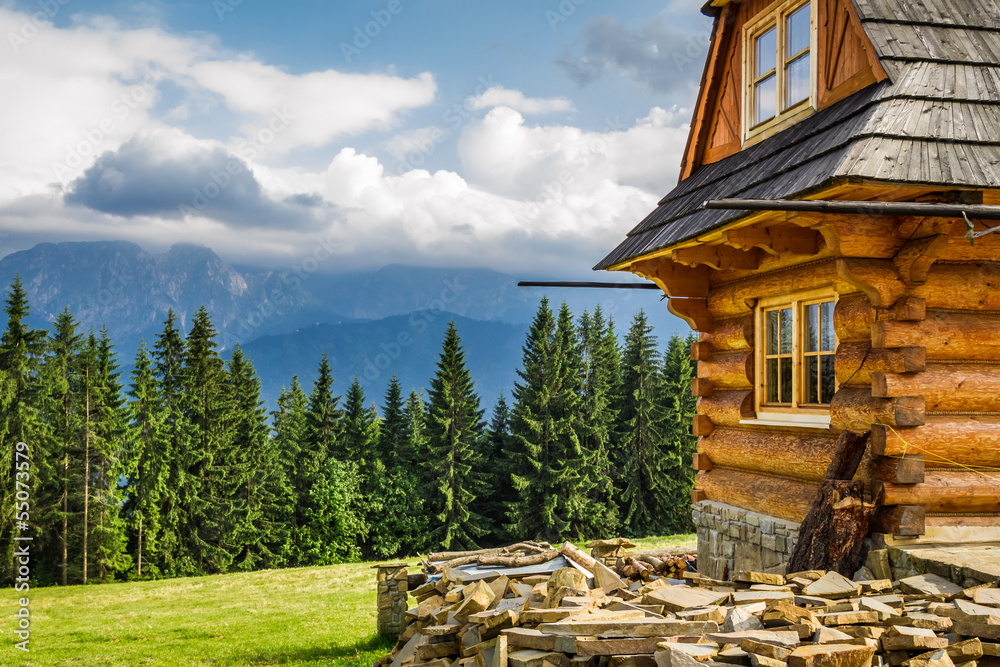 Fototapety, obrazy: Rural cottage in the mountains