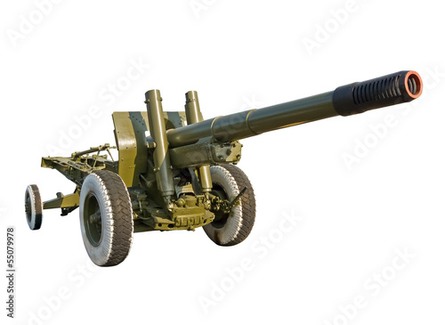 Tuinposter Helicopter Large-caliber howitzer
