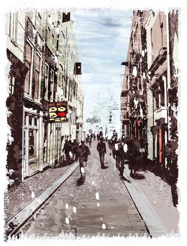 ilustracja-miasto-ulica-styl-akwareli